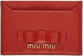 Miu Miu Red Leather Bow Card Holder