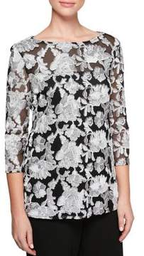 Alex Evenings Plus Embroidered Three-Quarter Blouse