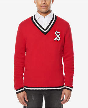 Sean John Men's Embroidered-Logo V-Neck Varsity Sweater, Created for Macy's