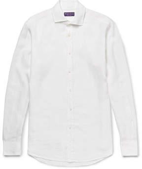 Ralph Lauren Purple Label Aston Cutaway-Collar Slub Linen Shirt