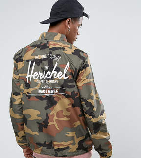 Herschel Voyage Packable Coach Jacket Back Logo Print in Woodland Camo UK EXCLUSIVE
