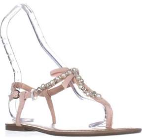 Material Girl Mg35 Perlie Bow T-strap Flat Sandals, Blush.