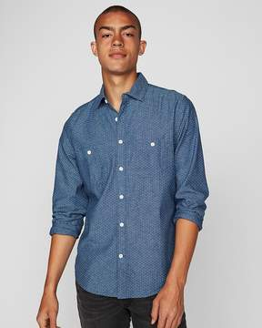 Express Slim Micro Dot Denim Two Pocket Shirt