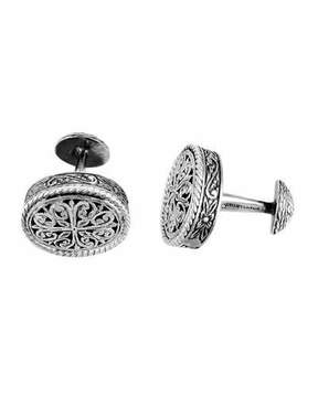 Konstantino Carved Silver Cuff Links