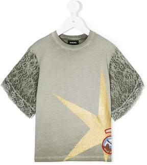 Diesel printed lace detailed T-shirt