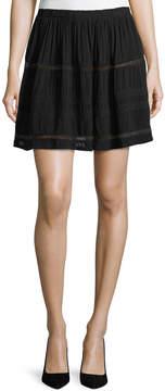 Allen Allen Lace-Inset Short A-Line Skirt
