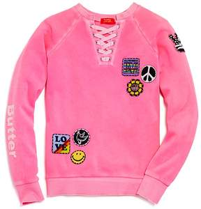 Butter Shoes Girls' Love Patches Sweatshirt - Big Kid
