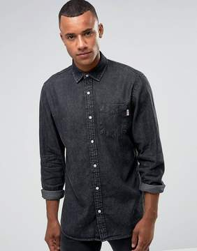 Jack and Jones Intelligence Relaxed Fit Denim Shirt In Washed Black