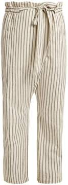 Masscob Paper-bag waist striped trousers
