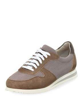 Brunello Cucinelli Men's Suede-Trim Trainer Sneakers
