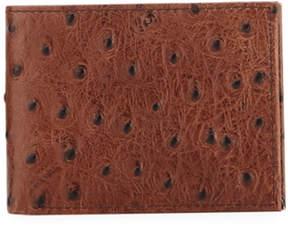 Neiman Marcus Ostrich-Embossed Slim Bi-Fold Wallet