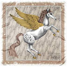 Aspinal of London Pegasus Feather Silk Twill Scarf In Gold 35 X 35