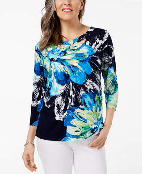 Alfred Dunner Royal Street Floral-Print Cutout Top