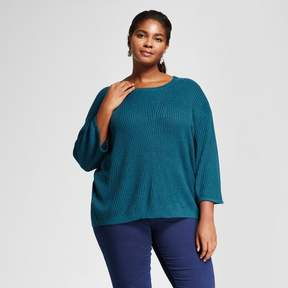 Ava & Viv Women's Plus Size 3/4 Sleeve Pullover Teal