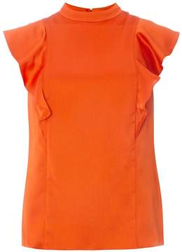 Dorothy Perkins Orange High Neck Ruffle Top