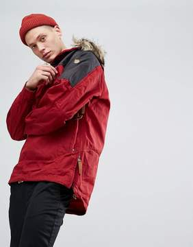 Fjallraven Singi Overhead Jacket with Faux Fur Hood in Red