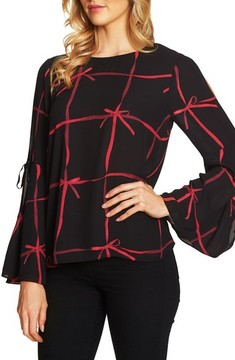 CeCe Women's Lattice Ribbons Bell Sleeve Blouse