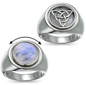Celtic Bling Jewelry Knot Reversible Moonstone Flip Triquetra Sterling Silver Ring.