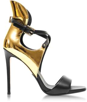 Balmain Acacia Gold Laminated Leather High Heel Sandals