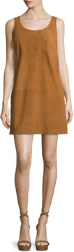 ATM Anthony Thomas Melillo Sleeveless Suede Mini Dress, Cognac