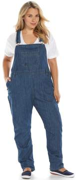 Dickies Plus Size Relaxed Straight-Leg Denim Bib Overalls