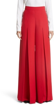 Sara Battaglia Women's Crepe Cady Wide Leg Pants