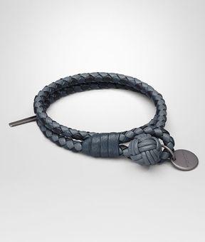 Bottega Veneta Bracelet In Krim Denim Tourmaline Intrecciato Nappa Club