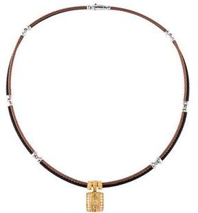 Charriol Diamond Pendant Double-Row Cable Necklace