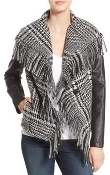 GUESS Women's Fringe Trim Glen Plaid Faux Leather Moto Jacket