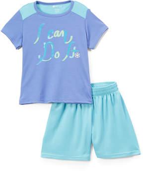 Gaiam Grape 'I Can Do It' Tee & Blue Mesh Shorts - Girls