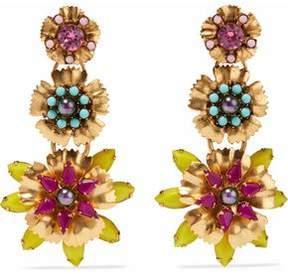 Elizabeth Cole 24-Karat Gold-Plated Swarovski Crystal Faux Pearl And Stone Earrings