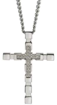 Armani Exchange Jewelry Diamond Cross Pendant in Stainless Steel (0.09 carats)