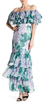Alexia Admor Off-the-Shoulder Ruffle Tiered Floral Maxi Dress