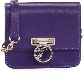 Versace Saffiano Leather Small Crossbody Bag, Violet
