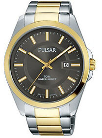 Pulsar Men's Stainless Watch with Gunmetal Dial