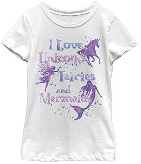 Fifth Sun White 'Unicorn Fairies and Mermaids' Tee - Girls