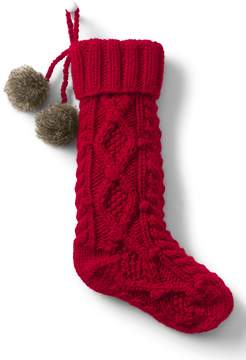 Lands' End Lands'end Cable Knit Pom Christmas Stocking