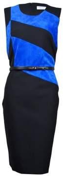 Calvin Klein Women's Faux Suede Colorblock Sheath Dress (6, Black/Celestial)