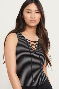 Dynamite Ribbed Lace Up Tank With Stripes