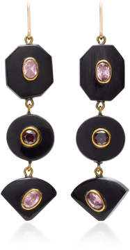 Ashley Pittman Zambarau Dark Horn Rose Quartz and Garnet Earrings