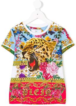 Philipp Plein Junior leopard floral T-shirt