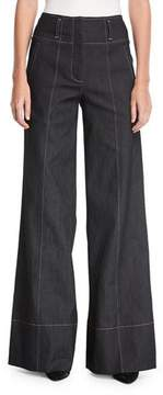 Cinq à Sept Talia Wide-Leg Cotton Pants w/ Topstitching