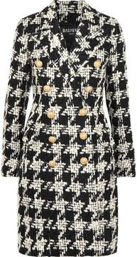 Balmain Houndstooth Wool-blend Tweed Coat - Black