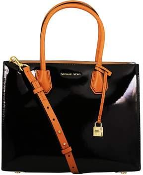 Michael Kors Women's Large Mercer Bonded Jerome Patent Leather Tote Shoulder Bag - Black - BLACK - STYLE