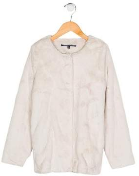 Lili Gaufrette Girls' Faux Fur Collarless Jacket