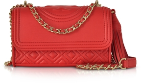 Tory Burch Fleming Red Volcano Leather Micro Shoulder Bag - RED - STYLE