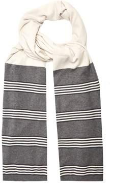 Brunello Cucinelli Striped-panel cashmere scarf