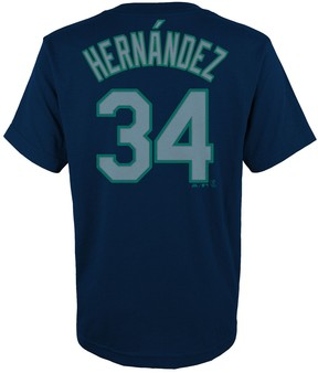 Majestic Boys 4-18 Seattle Mariners Felix Hernandez Player Name and Number Tee