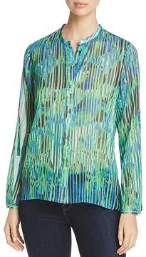 T Tahari Driya Long-Sleeve Printed Blouse