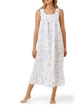 Eileen West Lace-Trimmed Floral Lawn Ballet Nightgown